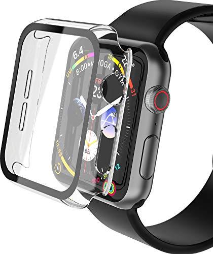 YoLin 2-Stück Mit Panzerglas Superdünne Bildschirmschutz Kompatibel mit Apple Watch Series 6/ SE/Series 5 / Series 4, PC All-Aro& Schutzhülle für iWatch 40mm (2 Transparent)