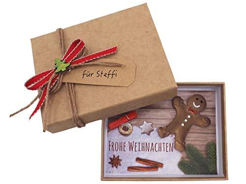 ZauberDeko Geldgeschenk Verpackung Weihnachten Lebkuchenmann Rot Natur Geschenk Gutschein
