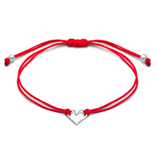 Red Womens Friendship Bracelet, Small Handmade Sterling Silver 925 Open Heart Shaped Charm, Pull Adjustable Kindred Cord Thread. Handmade Heart Gift Set