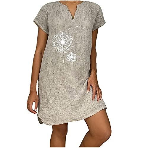 AMhomely Mujeres Vestidos Venta Promoción Liquidación Señoras Manga Corta V-Cuello Casual Caliente Vacaciones Impresión Mini Cambio Vestido Reino Unido Tamaño Fiesta Elegante Vestido