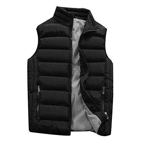 KEERADS HOMME Veste Gilet Casual Chaud Doudoune Vest sans Manche Manteau Blouson Zipper Automne Hiver(FR-54/XL,Noir)
