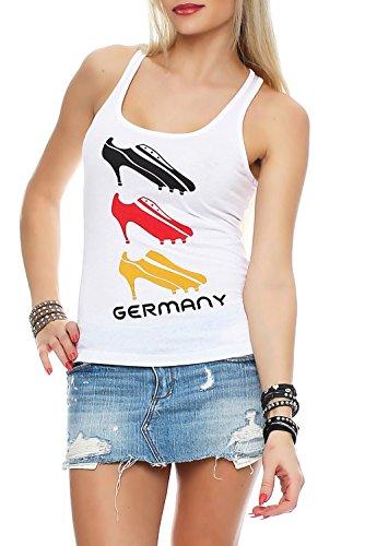 Damen Tank Top Deutschland Fanshirt EM WM Trikot High Heels, Größe:M, Farbe:Weiß