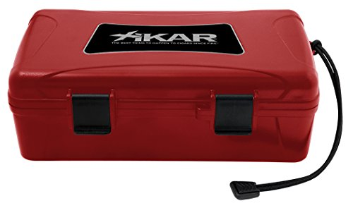 Xikar 10 Cigar Travel Humidor Case, Rugged, Airtight, Watertight, Stainless Steel Hinges, Red