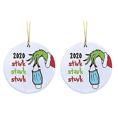 Xximuim Christmas Hanging Ornament, 2020 Stink Stank Stunk Ornament Christmas Decor Quarantine Face Cover Hanging Xmas Ornament for Christmas Tree Gifts Car Pendant (2pcs)