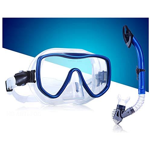 HUOFEIKE Gafas antivaho Conjunto Completo de Snorkel seco, Piscina panorámica de Alta definición Turismo de Snorkel en la Isla Entrenamiento de natación Trabajo Submarino Antivaho,Blue