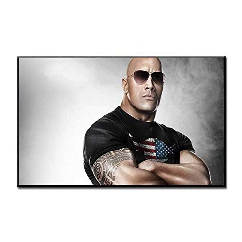 NOVELOVE Workout Fitness Dwayne Johnson Cartel Impresión en Lienzo HD Pintura Arte de la Pared Fotos Bar Mural Regalo Decoración del hogar (50 * 75 cm)Sin Marco
