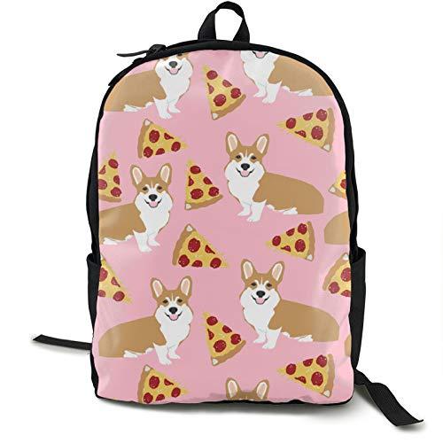 Corgi Pizza Pink Kids Backpack Lightweight School Bookbag Fashion Travel Daypack