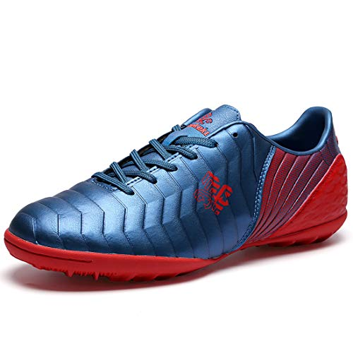 Kid's Turf Soccer Shoe Blue TF Indoor Professional Athletic Training Football Shoes for Boys and Girls Unisex 2 US