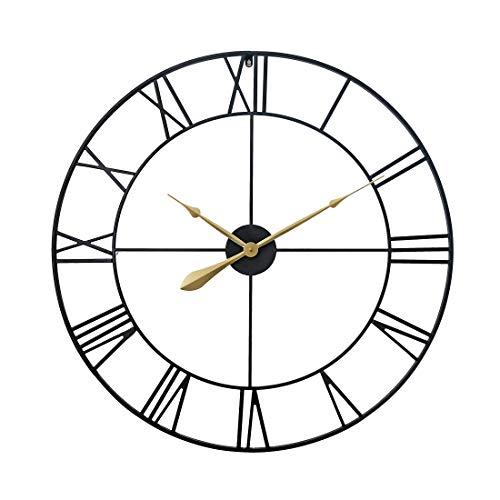 Teakpeak Reloj de Pared XXL Vintage, 80cm Reloj de Pared Silencioso Grande Metalico con Número Romano