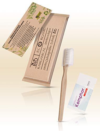 50 Sets dentales cepillo de y pasta de dientes | Kit dental ecológico envuelto individualmente | Para hoteles, viajes y huéspedes | 50 Kits