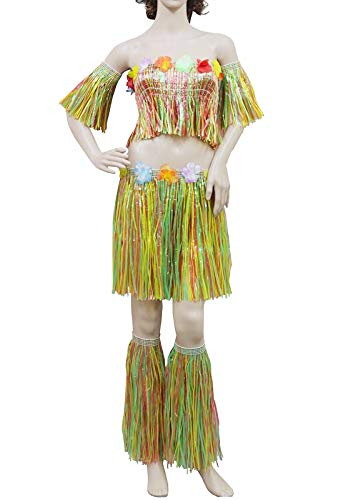 FashioN HuB Disfraz de cosplay mexicano hawaiano para mujer, 5 piezas, juego de hula con flores, talla nica