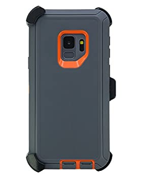 """WallSkiN Turtle Series Belt Clip Cases for Galaxy S9  5.8""""  3-Layer Full Body Life-Time Protective Cover & Holster & Kickstand & Shock Drop Dust Proof - Grey/Orange"""