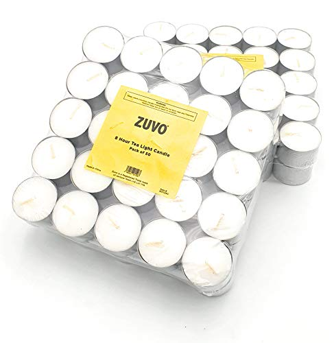 Zuvo [ 100 Pack] Tea Light Candles 8 Hour Burn Time White Unscented 3.8Cm x 2.3 cm 23 g (100 Pack), 90129c