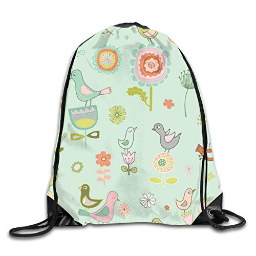 show best Birds in Spring Sky Drawstring Gym Bag for Women and Men Polyester Gym Sack String Backpack for Sport Workout, School, Travel, Books 14.17 X 16.9 inch