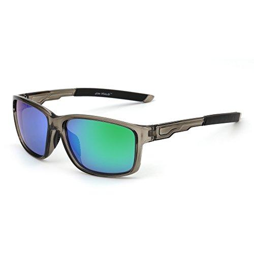 JIM HALO Polarizadas Deporte Gafas de Sol Espejo Envolver Alrededor Conducir Pescar Hombre Mujer(Gris/Verde)
