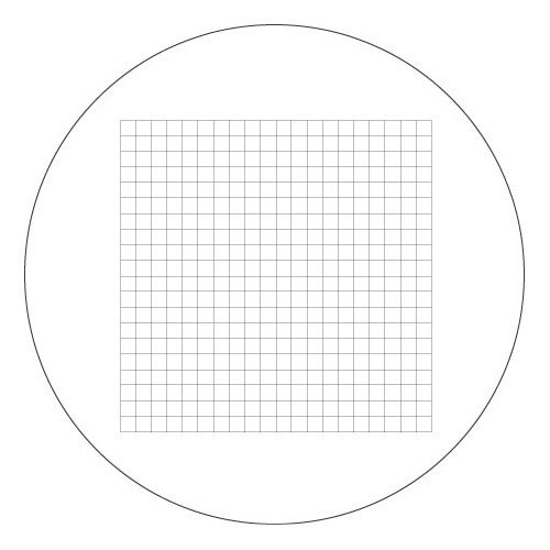 Vee Gee 1200-RGM100510C Reticle Grid, 10 x 10 mm, 400 Squares (0.5 mm²), 10x Eyepiece, 18 mm Eyepiece Field of View, 1200Cm'S, 1290'S Microscopes