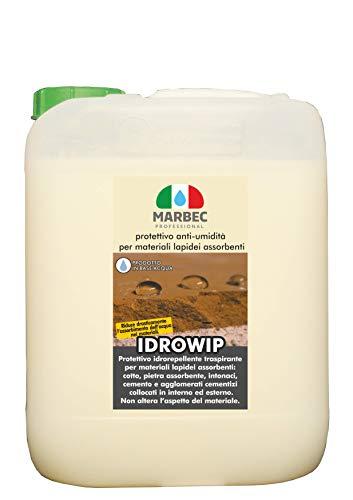Marbec - IDROWIP 5L | Protector para el Tratamiento Antihumedad de Materiales en Piedra: Barro, ladrillo, Piedra Natural con Alta absorción, mortero, en Interior y Exterior.