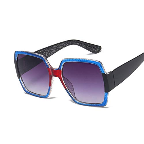 Gafas de Sol Sunglasses Gafas De Sol De Gran Tamaño para Mujer, Cuadradas, De Lujo, Vintage, con Montura Grande, Gafas De Sol, Gafas De Tendencia Femenina, Azul