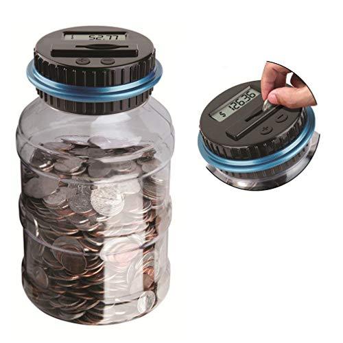 ALLOMN Digital Coin Bank Savings Jar, Digital Coin Counter Clear Digital Piggy Bank for US Coins with LCD Display