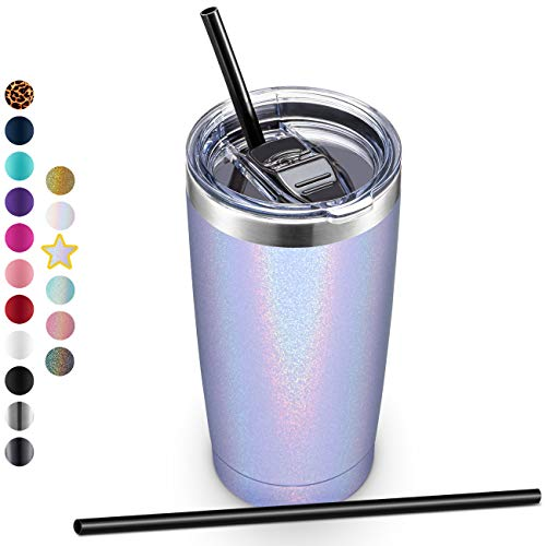 20oz Stainless Steel Tumbler with Lid and Straw, Vacuum Insulated Tumbler Cup, Double Wall Coffee...
