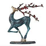 Desktop Statue Pure Copper Sika Deer Ornaments Creative Arts and Crafts Office Study Copper Furnishings Sculptures/Statues Home Decorations,Blue
