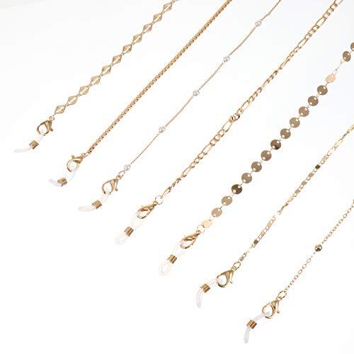 Hemoton 7 Pack Eyeglass Chains, Golden Eyeglasses String Eyewear Chain Necklace Eyeglass Chains Holder for Women Girls