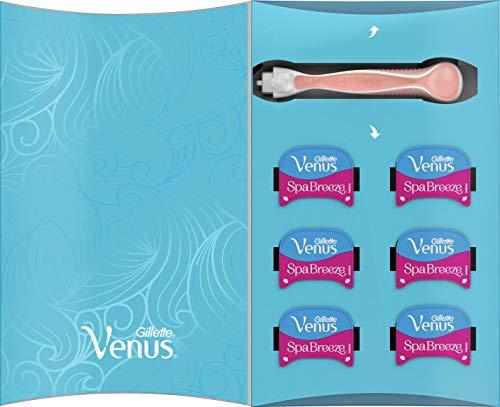 Gillette Venus Comfortglide Spa Breeze Rasierer, Damenrasierer mit 6 Rasierklingen, 3 Klingen für eine glatte und gründliche Rasur, aktuelle Version