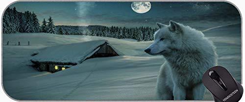 Cojín de ratón de Juegos Grandes, Casa de Noche de Animales Starry Sky Moon Wolf Gran Matería de Juego