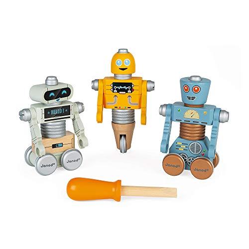 Janod J06473 Brico 'Kids Roboter aus Holz-Konstruktionsspielzeug-Entwicklung von Feinmotorik und Fantasie-Ab 3 Jahren