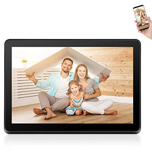 Digitaler Bilderrahmen,WiFi Digitaler Fotorahmen mit 1920 x 1080 IPS-Bildschirm, 1080P Digitaler Fotorahmen mit Einstellbarer Helligkeit Video Musik Fernbedienung Widescreen (10