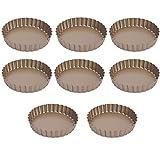 Quiche Stampo Fondo, DBAILY 8pcs Teglie per Quiche Antiaderente Scanalata Mini Torta Crostate Stampi con Base Rimovibile e Bordo Ondulato per Cheesecake Cioccolato (oro)