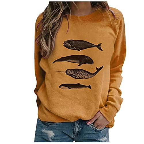 Camiseta de manga larga con cuello redondo para mujer, estilo casual, con estampado de corazón de leopardo, sin capucha, más suéter sólido, amarillo, 3XL