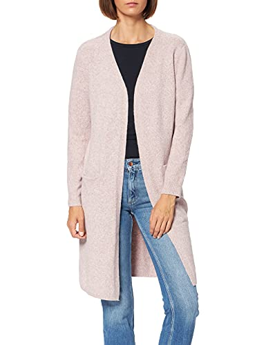Vero Moda Vmdoffy LS Long Open Cardigan Noos Chaqueta Punto, Rosa (Woodrosemelange), 40 (Talla del Fabricante: Medium) para Mujer