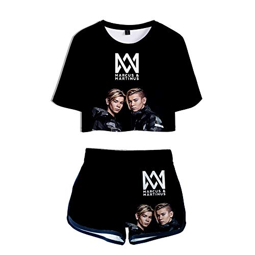 Marcus&Martinus Twins Sänger Trainingsanzug Sommer Tops + Sport Kurze T-Shirt Shorts Tracksuit Sportswear-Sets für Damen