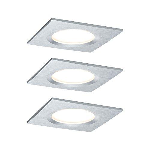 Paulmann 938.95 Premium EBL Set Coin Slim dimmbar eckig starr LED 3x6,8W 2700K 230V 51mm Alu gedreht/Alu 93895 Spot Einbaustrahler Einbauleuchte