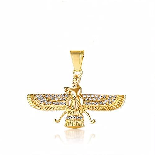 Vibner Collar Collar con Colgante De ala En Acero Inoxidable Dorado Religi Men Jewelry Lightyellowgoldcolor