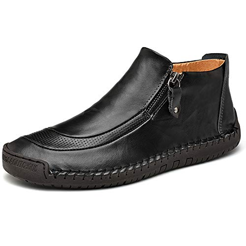 CEKeugo Men's Leather Driving Classic Handmade Ankle Casual Comfortable Walking Loafers Slip on Shoes Black 11 M US 46