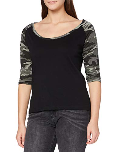 Urban Classics Ladies 3/4 Contrast Raglan tee Camiseta, Negro/Camuflaje, XS para Mujer