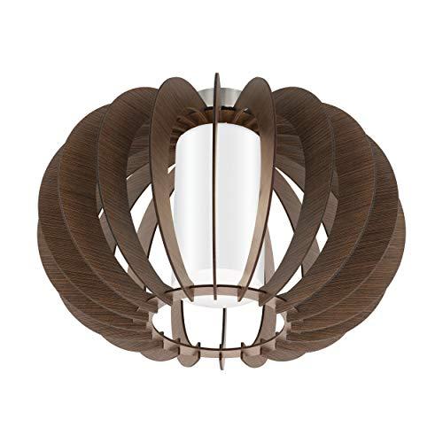 EGLO Deckenlampe Stellato 3, 1 flammige Deckenleuchte Vintage, Wohnzimmerlampe aus Stahl, Holz und Glas in Nickel-Matt, braun, weiß, Küchenlampe, Flurlampe Decke mit E27 Fassung