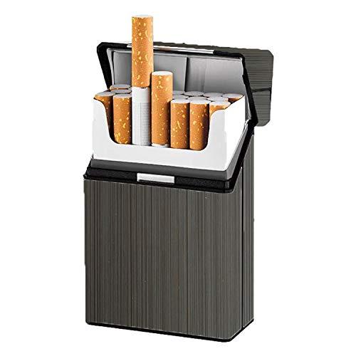 タバコケース メタルシガレットケースは85mm20本のタバコ 軽量アルミニウムプラスチックシガ??レットケースを収容できます 破損防止 防水シガレットケース ユニセックス (グレー)