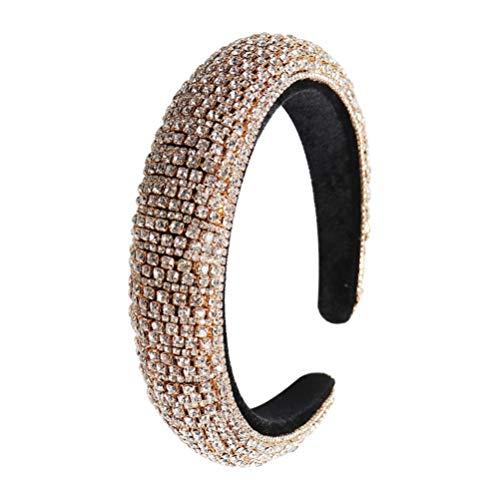 Beaupretty Strass Haarreifen Barock Kristall Stirnbänder Diamant Haarbänder Party Gefälligkeiten Liefert Kopfreifen für Frauen Mädchen Damen (Golden)