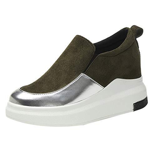 Schuhe Frauen Wedges Plattformen rund innen erhöhen Slip-On Pumps Casual Thick (35,Grün)