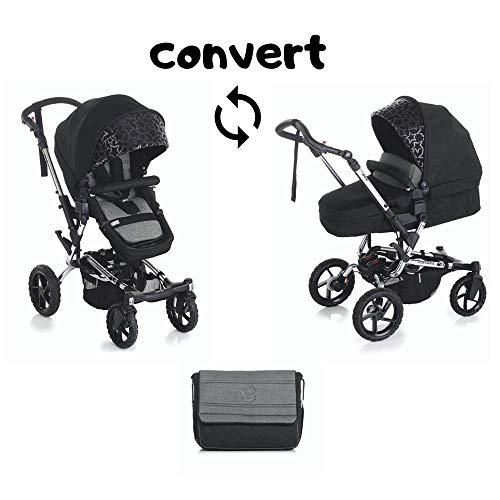 Jané Crosswalk Convert Kinderwagen mit Babywanne von 0 bis 15 kg, Aluminiumrahmen 10,5 kg, kompakter Verschluss, Pro-fix System, Unisex