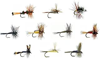 Feeder Creek Fly Fishing Assortment for Trout Fishing and Other Freshwater Fish - 30 Dry Flies - 10 Patterns - Humpy, Blue Wing Olive, Royal Coachman, Black Gnat, Adams Parachute, and More