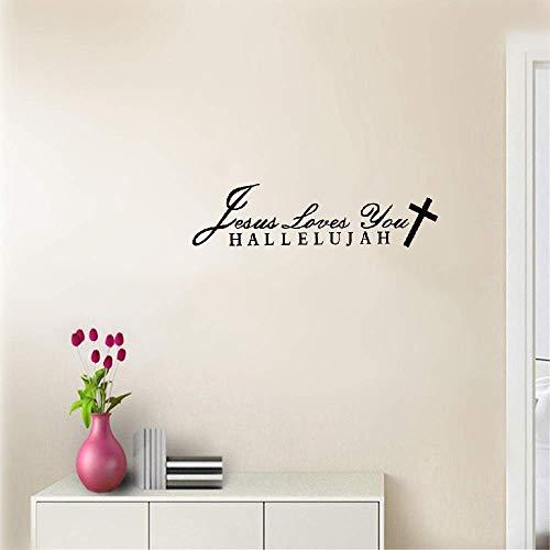 Wandaufkleber Schlafzimmer Styling Wort Jesus liebt dich Halleluja Christian Sticker Decal für Wohnzimmer