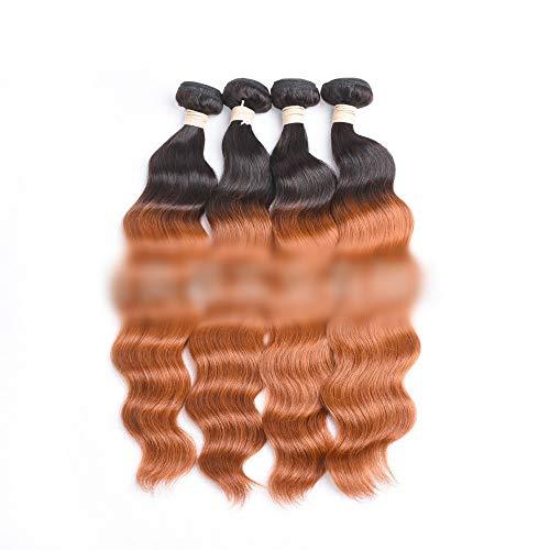 WYHP Braziliaanse Surf haar pruik, Non-lijm Lace Wig for vrouwen, geschikt for Black Women, Onbehandeld Pruik, Bright Brown (Color : Brown, Size : 12 inch)