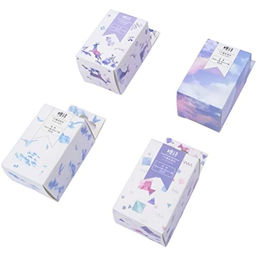 Fantacy Washi Masking Tape Set (4 Box, 12 Rolls) Colorful Sky Star Bird Castle Sparkling Water Surface Planet Balloon Deer Whale Stationery Scrapbook Diary Album Art Project DIY Label