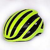 SFBBBO Casco Bicicleta Adulto Casco de Ciclismo de Aire para Carreras, Bicicleta de Carretera, aerodinámica, Casco de Viento, Deportes para Hombres, Casco de Bicicleta Aero, Amarillo Fluo