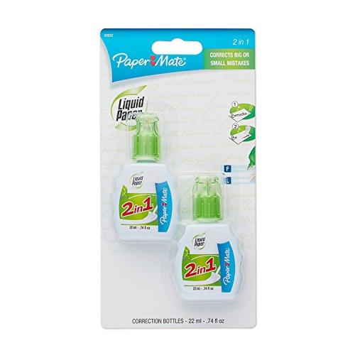 Papier Mate Vloeibaar Papier 2-in-1 Correctie Combo, 22 ml Fles, Wit, 2 per verpakking (42032)