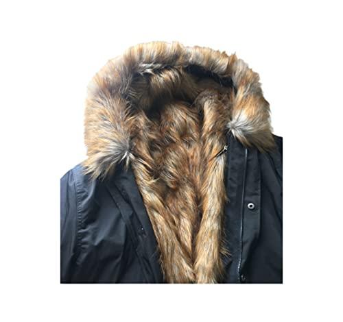 YIOLEAMP Parka de invierno más tamaño, abrigo grueso de algodón de los hombres, abrigo con capucha de mapache de piel falsa, mantener chaqueta caliente, 1, M